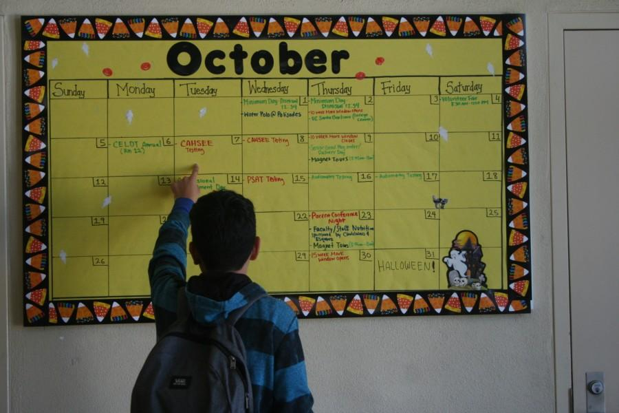 There is a monthly calendar located in the main building that lets students know the important events that are happening in that specific month.