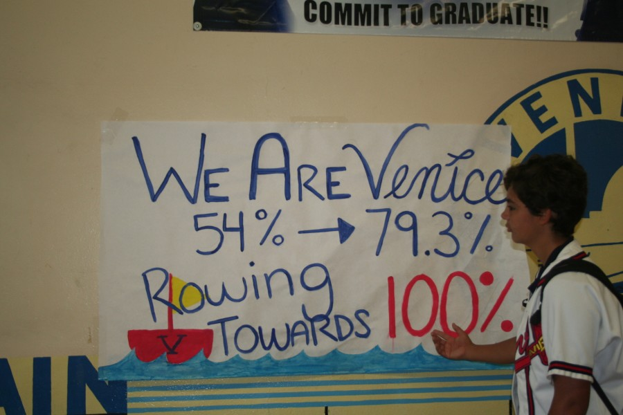 Venice High's grad rate increases between the 2011-12 and 2012-13 school years. Go Gondos!