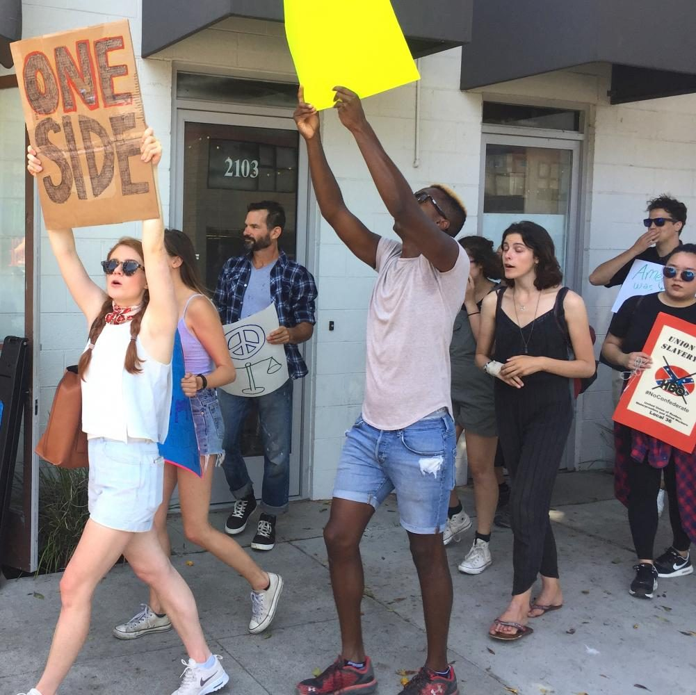 Protesters marching to HBO Offices in Santa Monica