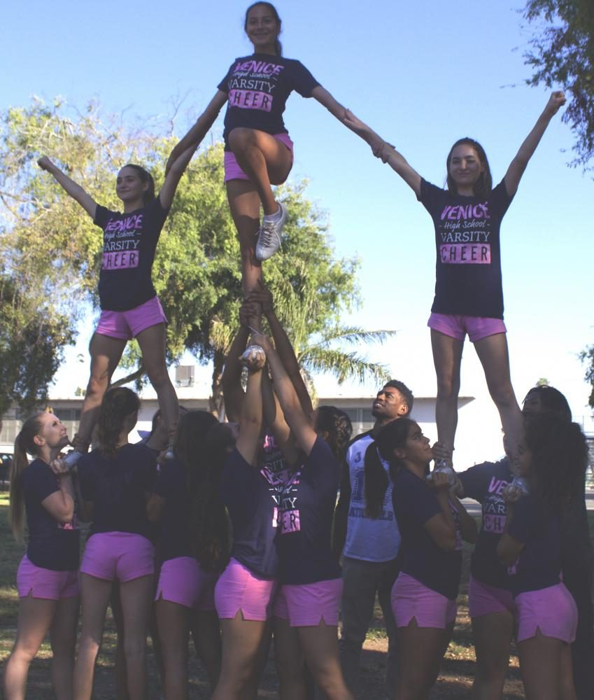 Cheerleaders+stunting+during+practice.