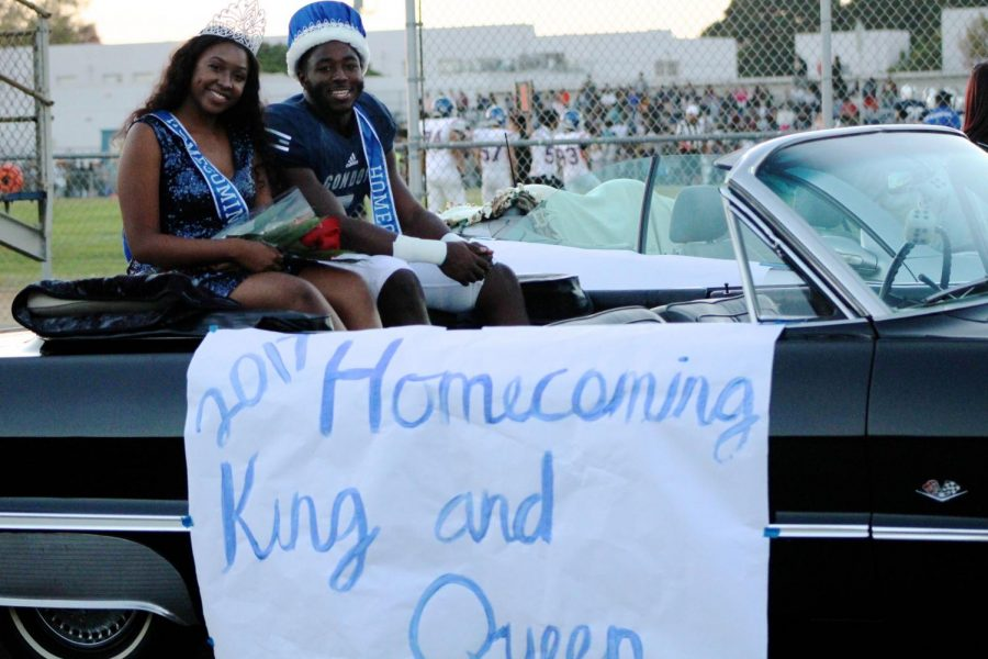 Homecoming King Justin Cauley and Homecoming Queen Shara Wade.