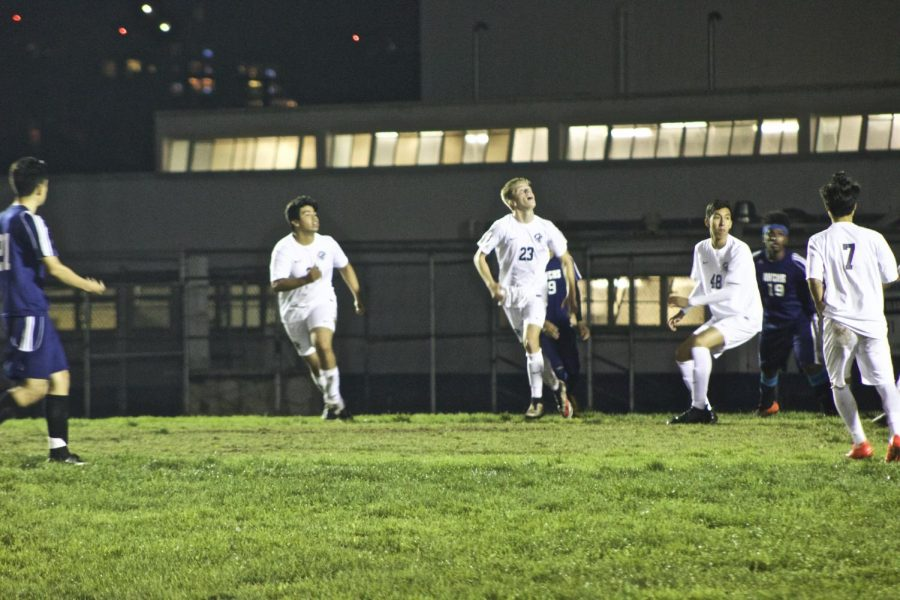 Levi (Number 23) awaiting the ball