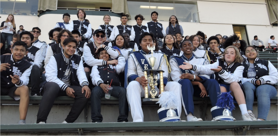 Mighty+Gondolier+Marching+Band+poses+for+photo+at+US+Bands+West+Coast+Regional+Championships+at+East+LA+College.+
