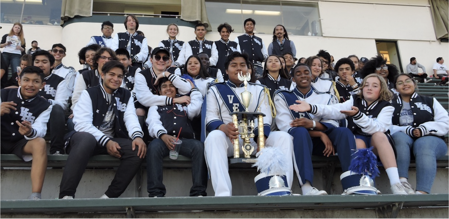 Mighty Gondolier Marching Band poses for photo at US Bands West Coast Regional Championships at East LA College.