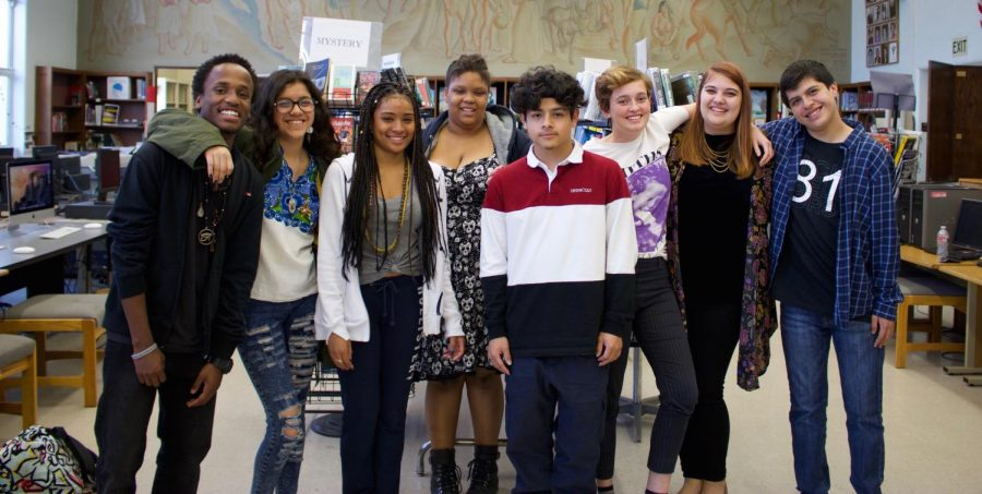 (From left to right) Ashton Broughton, Virginia Villalta, Ayesyz Patterson, Kayla Armstrong, Marlon Diaz, Olympia Miccio, Emily Johnson, Andrew Torerrs- pose for a picture after their Poetry Slam performances.