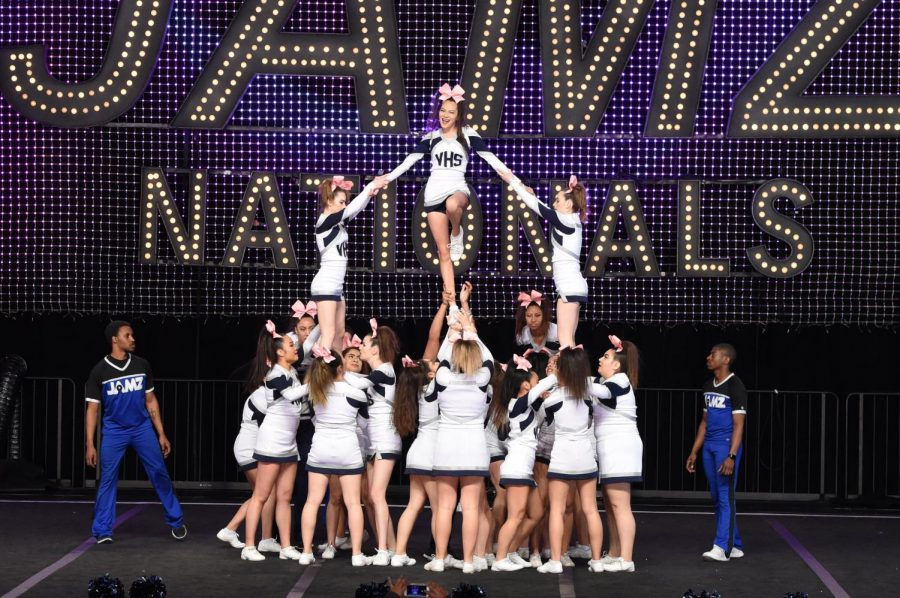 Cheerleaders in formation.
