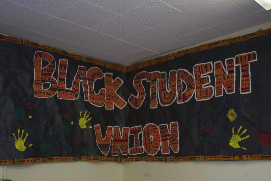 The banner of the Black Student Union, posted in Ms. Thrasher's room.