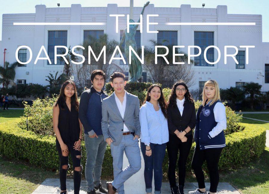 The+Oarsman+Report+Team+%28left+to+right%29+Aaliyah+Apilado-Reporter%2C+Vayran+Martinez-+Editor%2C+Esdras+Melgar-+Anchor%2C+April+Cuarenta-+Anchor%2C+Julissa+Ventureno-+Editor+and+Mya+Gates-+Producer%2C+pose+in+front+of+the+school.