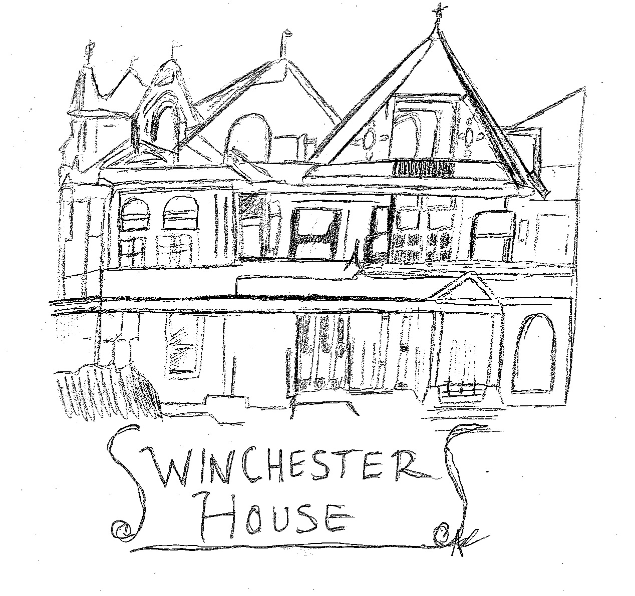 Illustration of Winchester House in San Jose