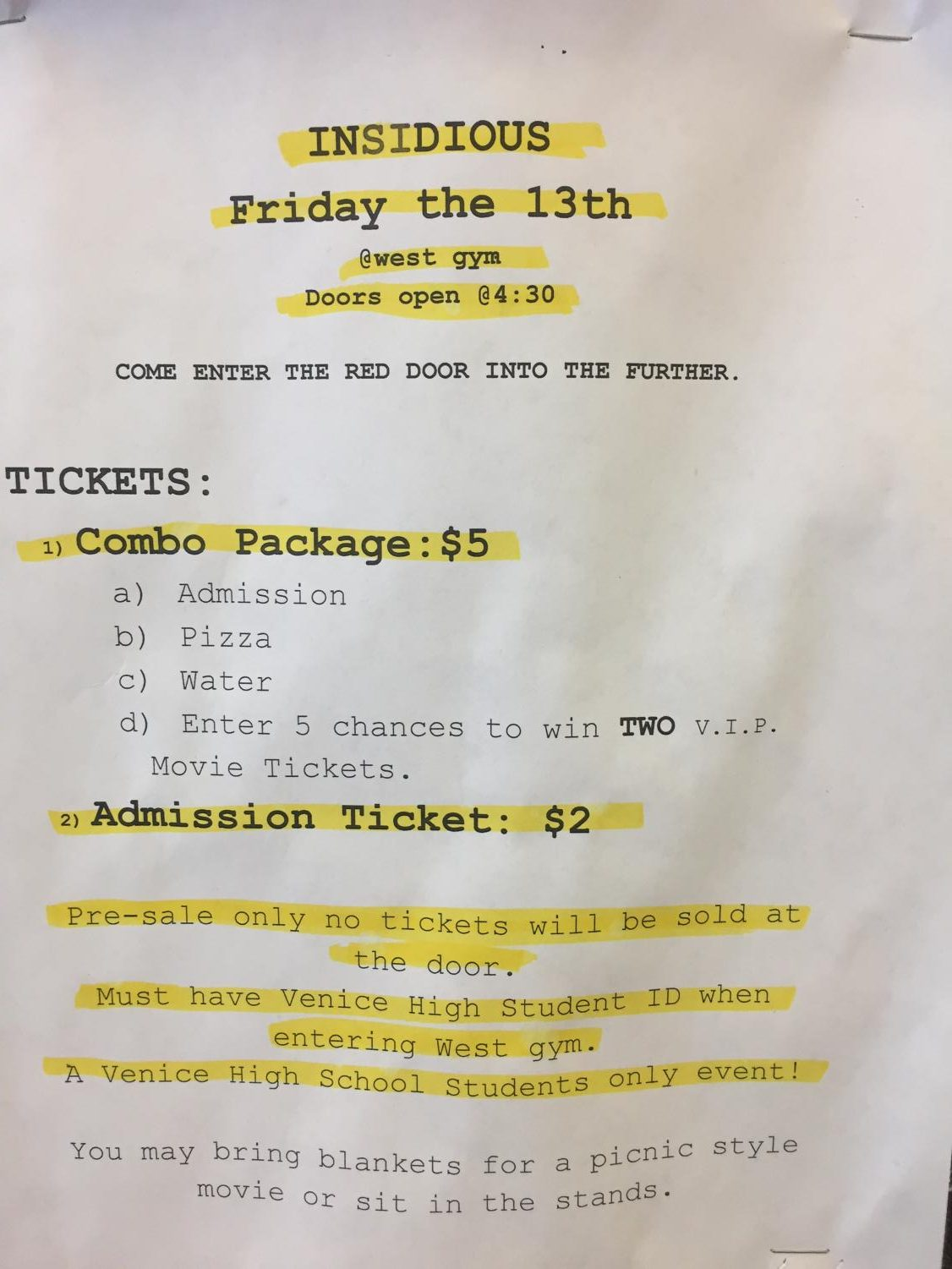 Flyer about the movie night ASB is holding.