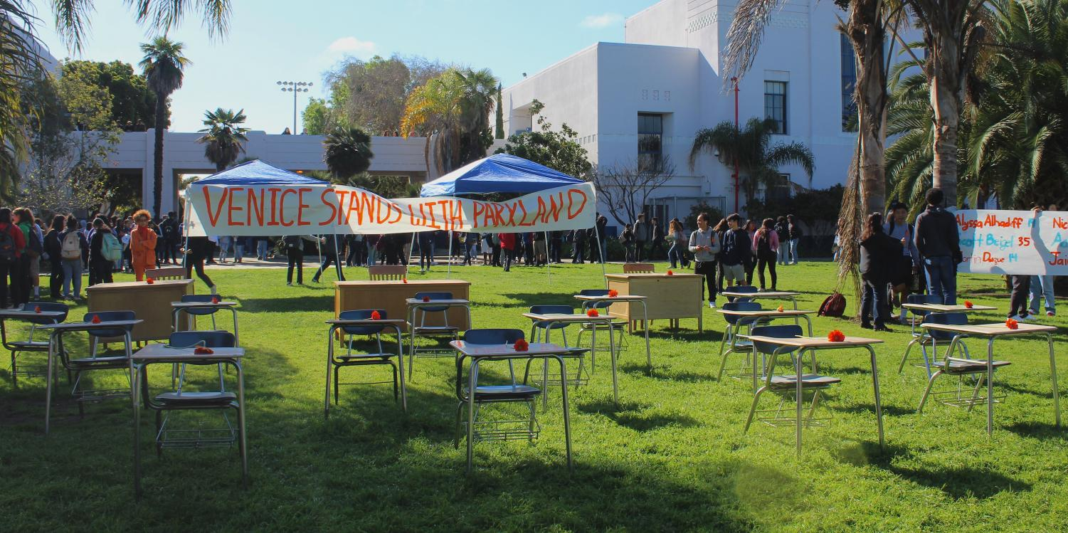 Venice High School's Memorial/Walkout for the Parkland shooting that occurred February 14th. Students and staff set up 14 student desk and 3 teacher desks.