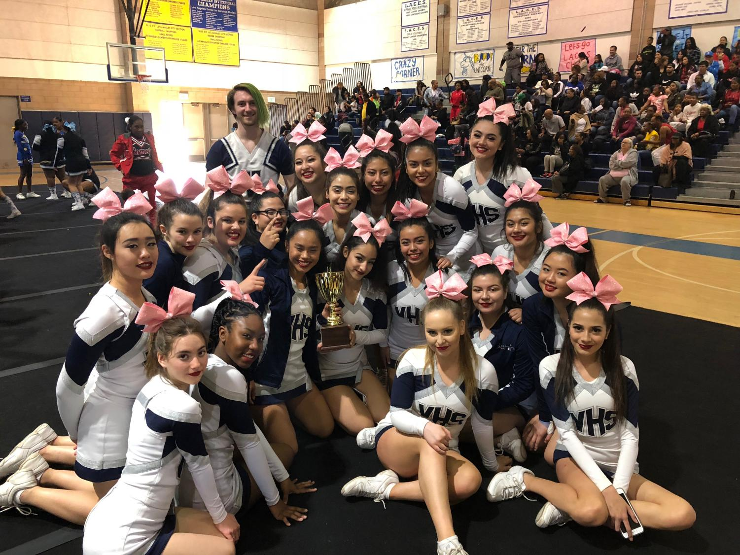 Varsity Cheer poses for photo after winning 2nd place