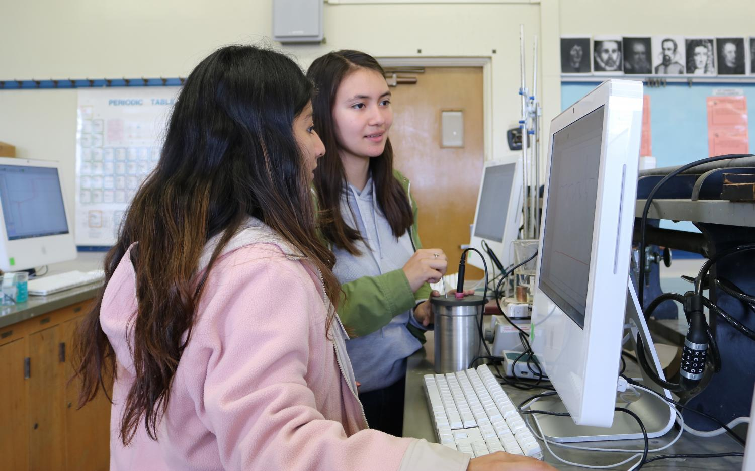 Barry Vella's physics students experiment with the iMac computers, donated by UCLA, and the materials, funded through DonorsChoose Projects.