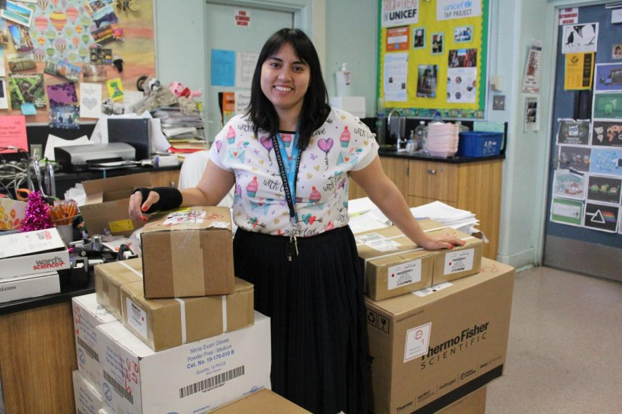 Ms.White with her new equipment she has received from the $15,000 grant.