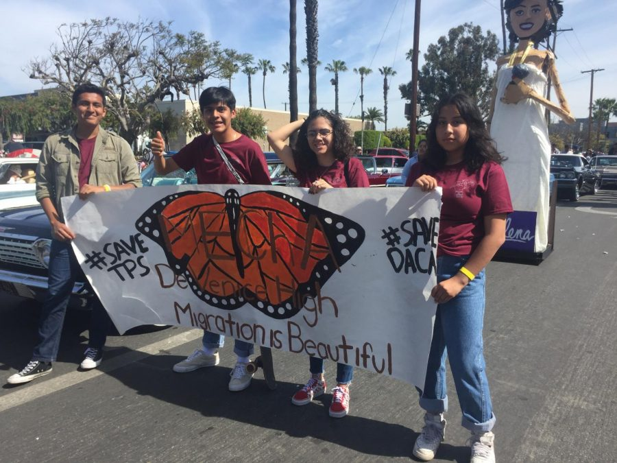 MEChA club members lined up before the Cinco de Mayo Parade.