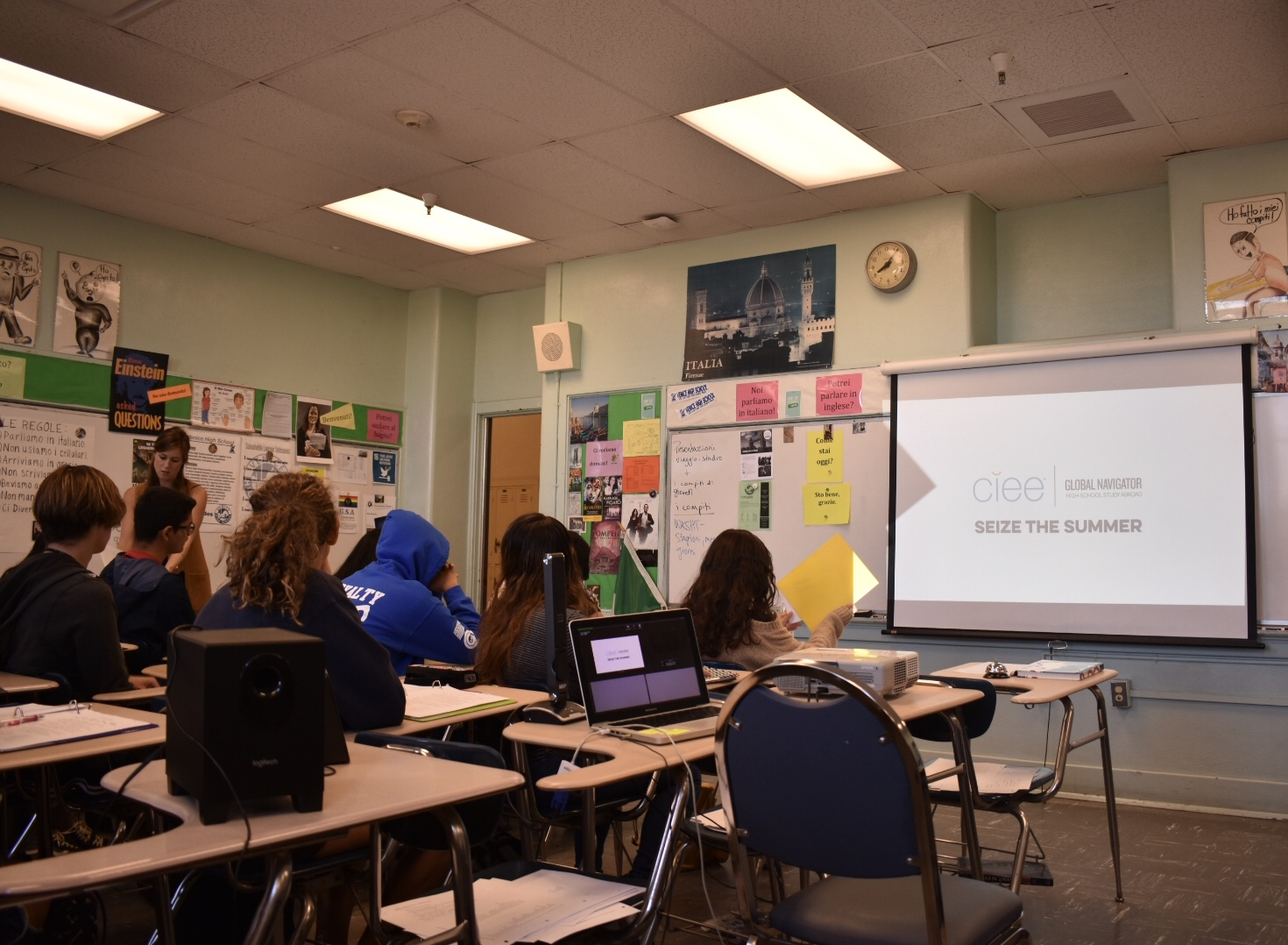 Jessie Hill making a presentation in Ms. Willcox's first period.