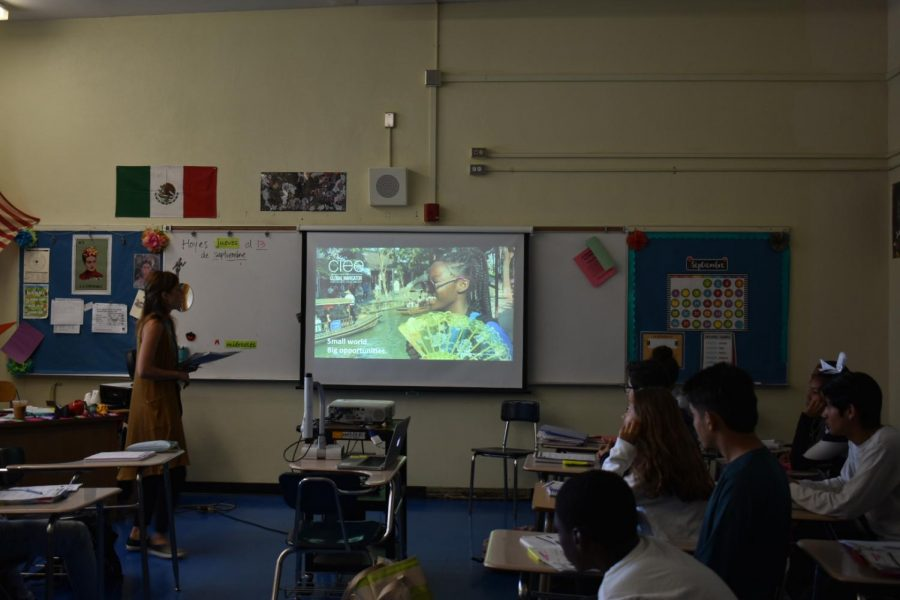 Jessie Hill presenting in Ms. Elizondo's Spanish class.