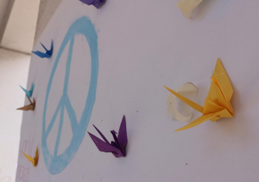 Paper cranes represent peace.