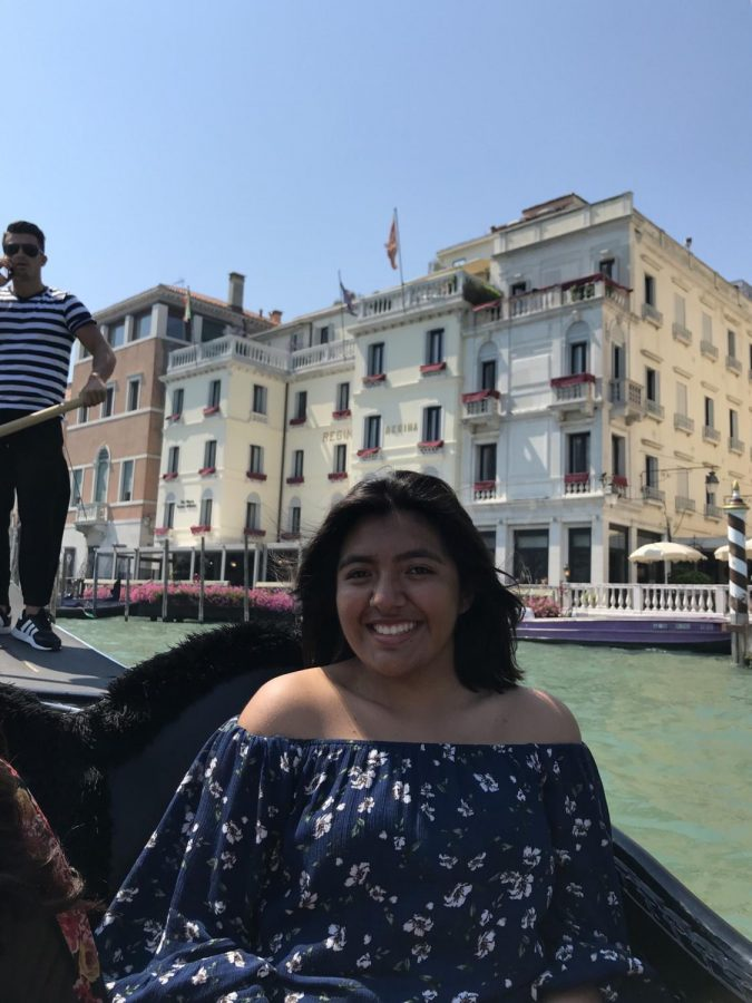Student Elisa Martinez rode in a gondola through the canals of Venice.