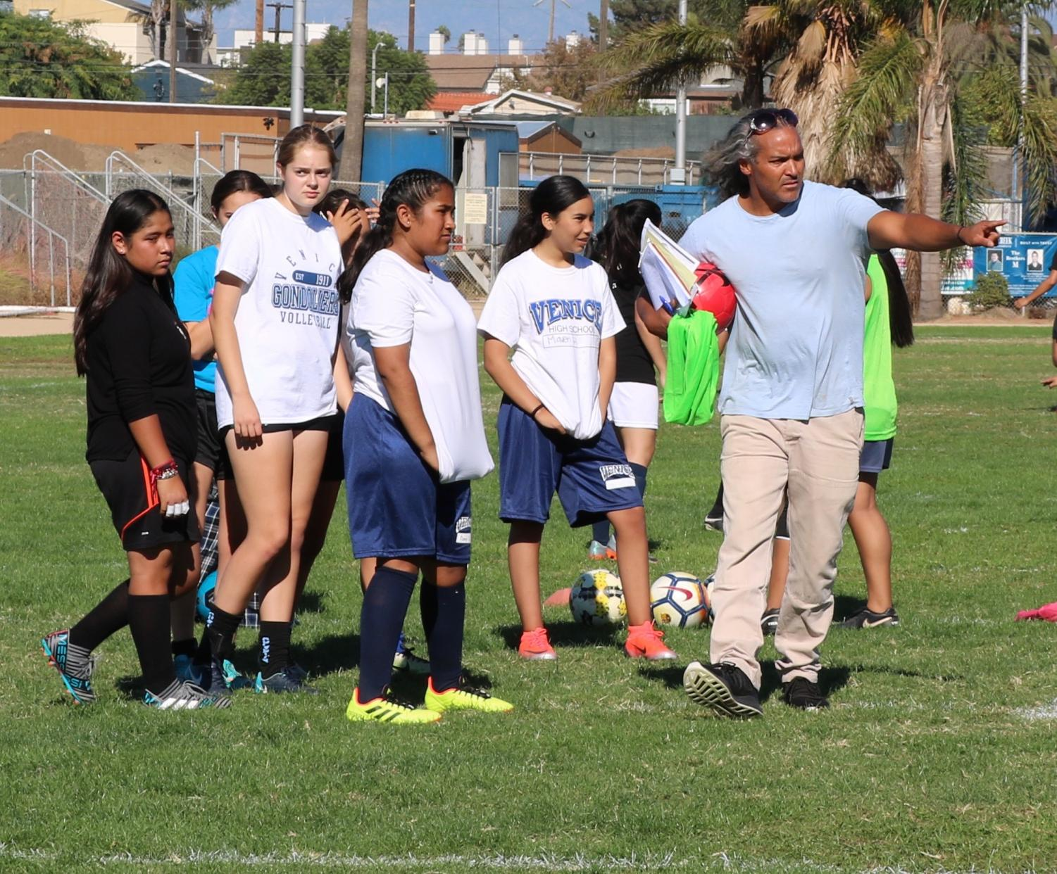 New soccer coach, Mr. Chaka Forman, at first tryouts of the season.