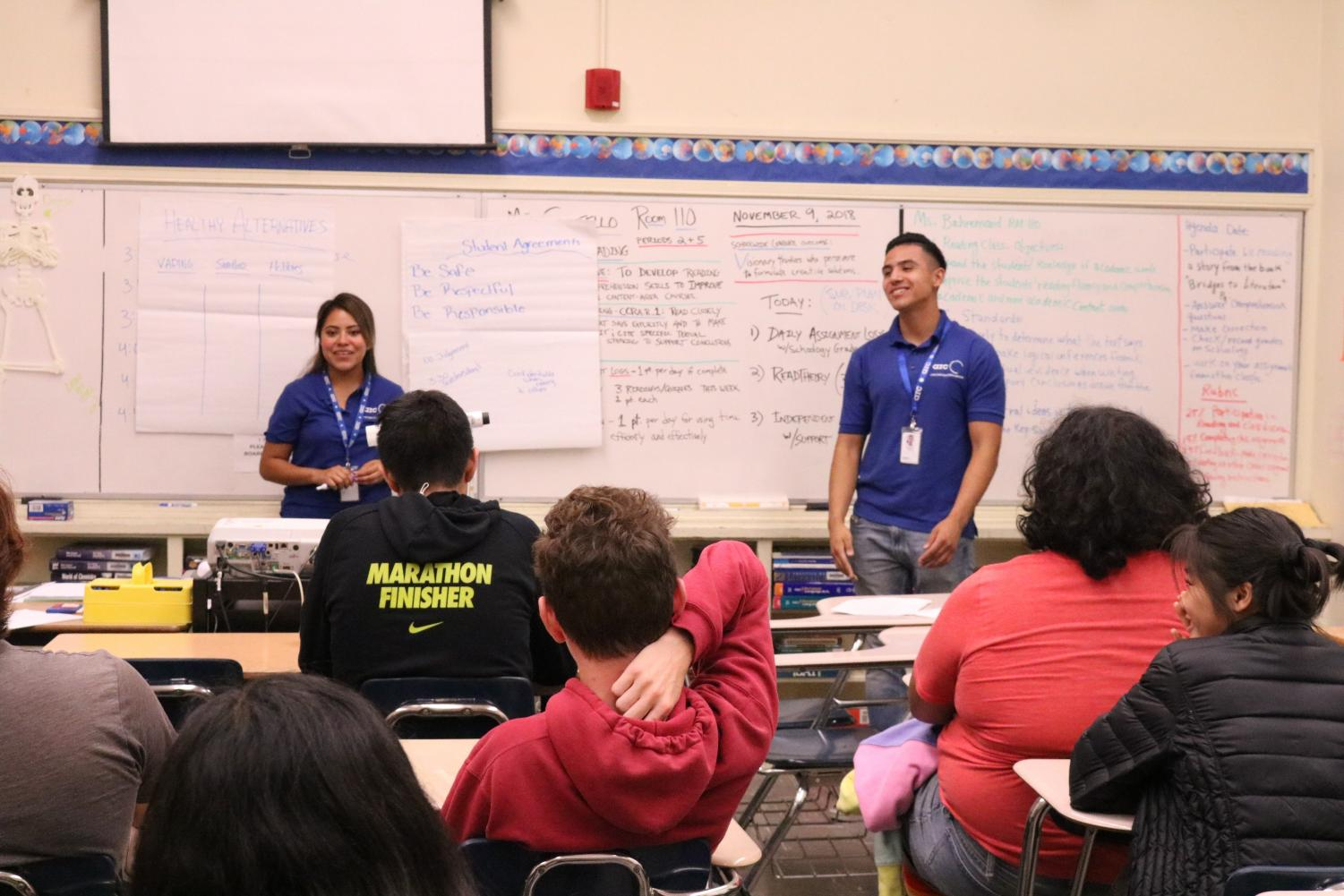 Guest speakers educate students on the drawbacks of smoking.