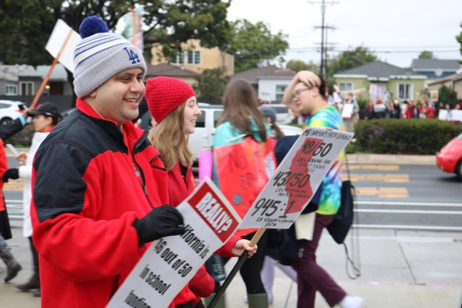 Mr. Rojo marches during teachers' strike January 2019.