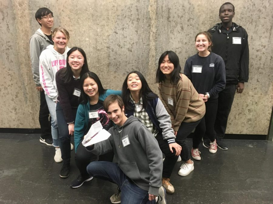 Science bowl members (left to right) Johnny Pan, Daniella Kensinger, Chloe Cheng, Angela Yang, Henry Friedman, Jenny Chen, Xinyue Joce Yang, Schyler Marvin, Tasie Anozie.