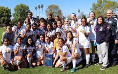Varsity girls soccer team win Division 5 championships.