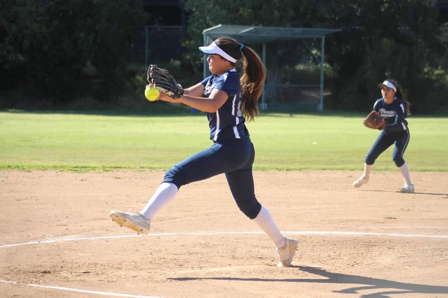 Junior Camryn Steele #29 pitches to Westchester.