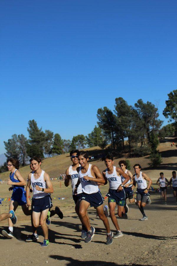 Varsity boys cross country team.
