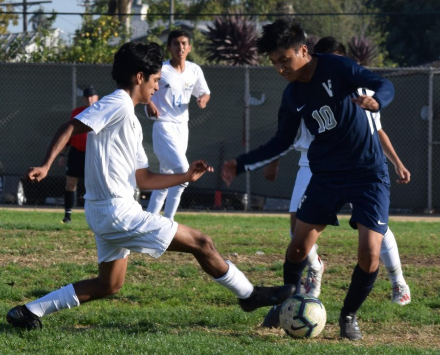Luis Lopez (#10) takes initiative during a home game this season against Bright Star Secondary Charter Academy.