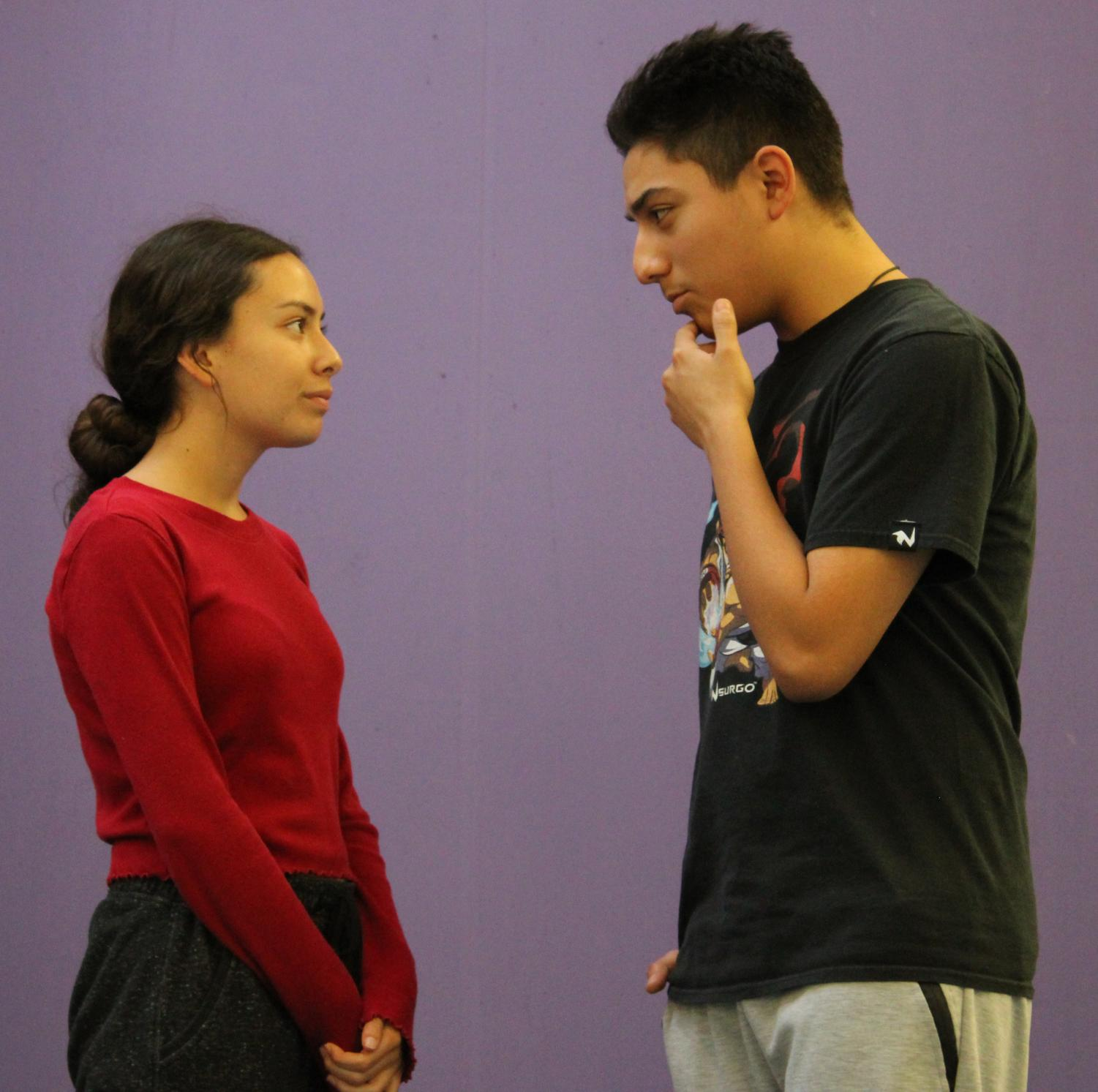 Yareli Jara and Christopher Magallanes rehearsing lines for this fall's play.