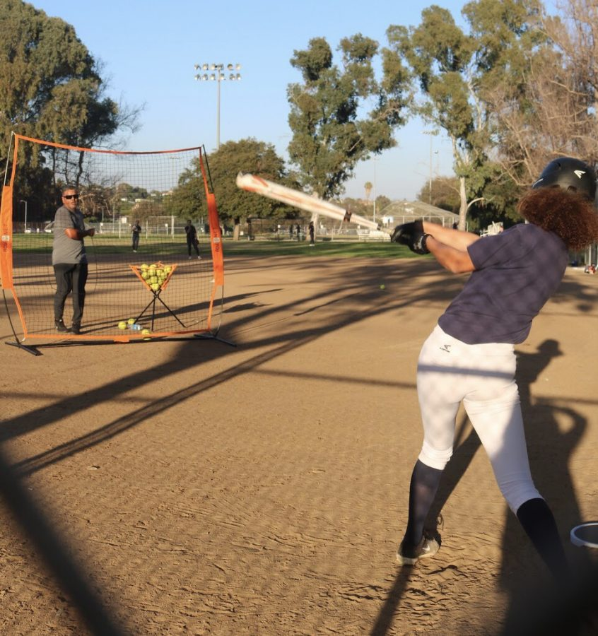 Venice%27s+girls+softball+team+practicing+at+Penmar+Park.