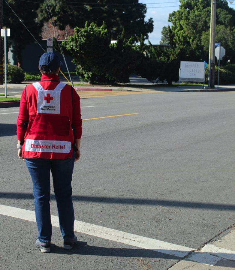 Red Cross volunteer at Marina Del Rey Middle School  Grab & Go center.